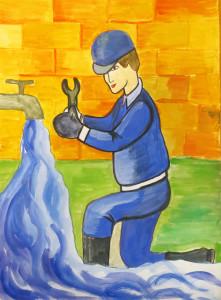 Из трубы вода бежит