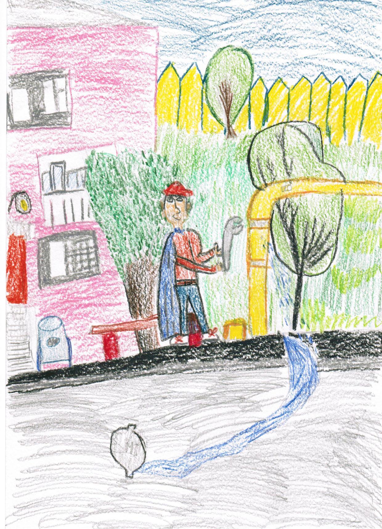 Кристина, 7 лет Кто спасет нас от потопа Кто вернет в квартиру воду Кто починит наш клозет Это дяденька Олег! Он герой наш, он сантехник. На